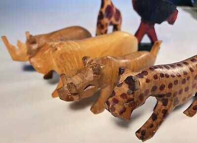 Vintage Miniature Wood Animals Hand Carved Folk Art Exotic Africa 6 Pieces