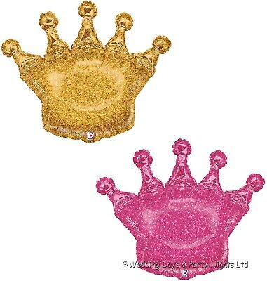 3ft Sparkly Holographic Gold or Pink Crown Foil Helium Balloon Party Decorations