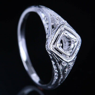 Art Nouveau Antique Fine Jewelry Ring Round 3.5-4mm Solitaire Sterling Silver925