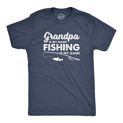 Mens Grandpa Is My Name Fishing Is My Game Tshirt Funny Fathers Day Tee (Heather