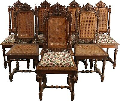 8 Antique Dining Chairs 1880 French Hunting Style  Carved Oak  Cane/