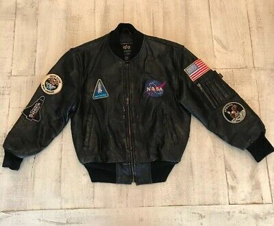 Alpha Industries NASA Leather Jacket Youth Small
