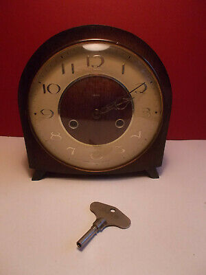 Vintage Smiths Floating Balance 8 Day Striking Mantel Clock Working with Key