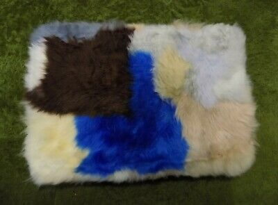 GENUINE Blue Brown SHEEPSKIN RUG NURSERY, SEAT, PET BEDDING, MAT 51 x 33cm