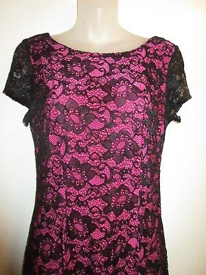 bebe M Mixed Lace Dress Floral Black Hot Pink Lining Bodycon Cocktail Party Sexy
