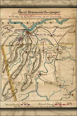 Poster, Many Sizes; Map Of Chattanooga And Vicinity, Tenn 1865