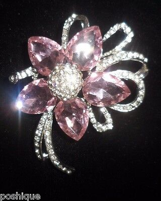 Shiny Pink Flower Floral Vintage Antique Rhinestone Genuine Crystal Pin Brooch