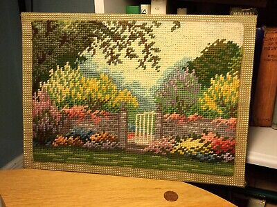 Antique/Vintage Colourful Needlework Tapestry Panel Country Cottage Garden