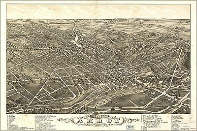 Poster, Many Sizes; Panoramic Map Of Akron, Ohio 1882
