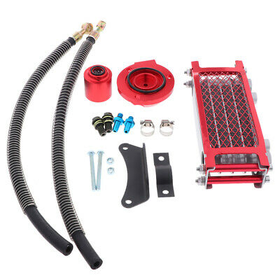 Alloy Motorcycle Oil Cooler Oil Radiator Red for Suzuki GS