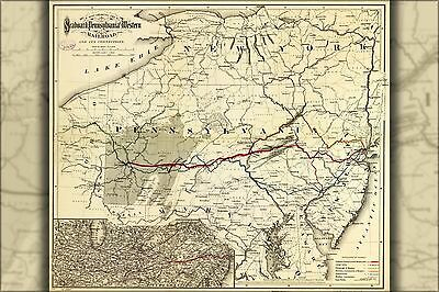 Poster, Many Sizes; Map Seaboard Pennsylvania Western Railroad 1884