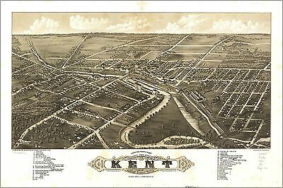 Poster, Many Sizes; Panoramic Map Of Kent Ohio 1882