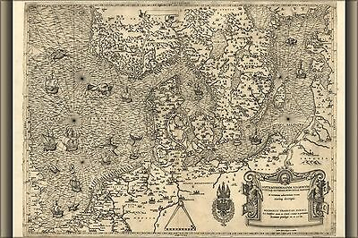 Poster, Many Sizes; Map Of Northern Europe, 1558 Denmark Holland