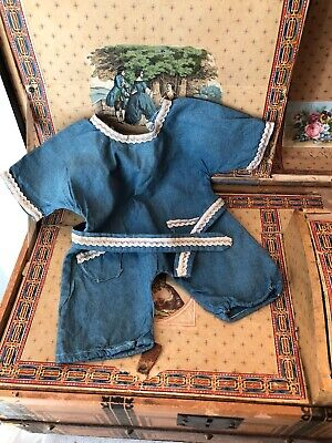 ~ Cute!! Antique/Vintage Child Doll Chambray Toddler 1 Piece Romper ~
