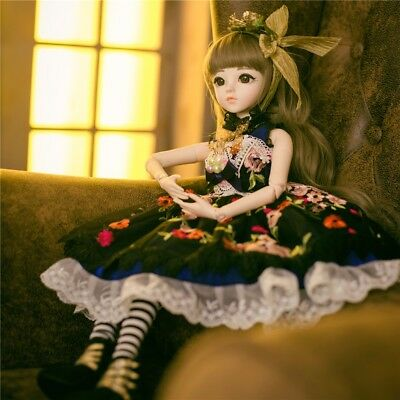1/3 Ball Joints BJD Girl Dolls With Full Set Outfit Face Make Up Wigs Beauty Toy
