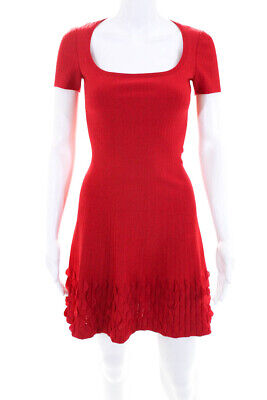 0dcec311b5 Alaia Womens Stretchy Ribbed Scalloped Scoop Neck A Line Dress Red Size IT  36