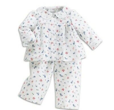 "GENUINE AMERICAN GIRL 18"" OUTFIT Emily's Flannel White Pyjamas PJs for doll EUC"