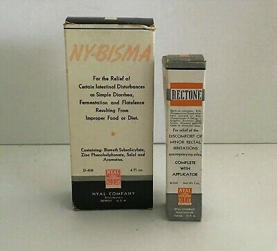 Vintage Lot Apothecary Pharmacy Nyal NY-Bisma Mixture Rectone Cream 1940