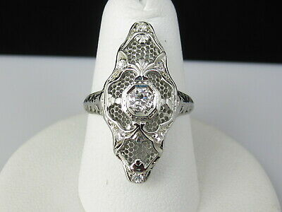 Art Deco Old European Cut Diamond Ring Navette Vintage Estate 18K White Retro