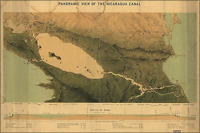 Poster, Many Sizes; Panoramic Map Of The Nicaragua Canal 1870