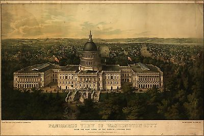 Poster, Many Sizes; Panoramic View Map Of Washington City D.C. From The New Dom