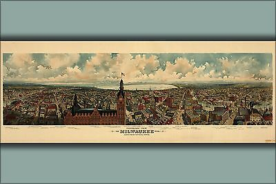 Poster, Many Sizes; Panoramic Map Milwaukee, Wisconsin 1898