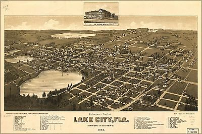 Poster, Many Sizes; Panoramic Map Of Lake City, Florida 1885