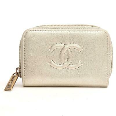59a649dd27a053 Auth CHANEL CC Zip Coin case coin purse wallet A68890 leather Gold Used  Vintage