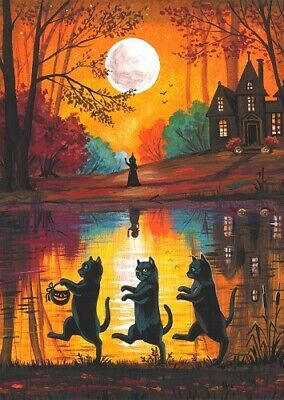 5x7 PRINT OF PAINTING RYTA WITCH BLACK CAT AUTUMN HALLOWEEN HAUNTED HOUSE ART