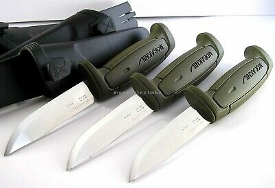 3 Pc Lot Mora Morakniv Basic 511 Skinner CarbonSteel Knife Sweden GREEN OLIVE