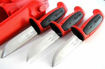 3 Pc Lot Mora Sweden Morakniv Basic 511 Skinner Carbon Steel Knife RED BLACK