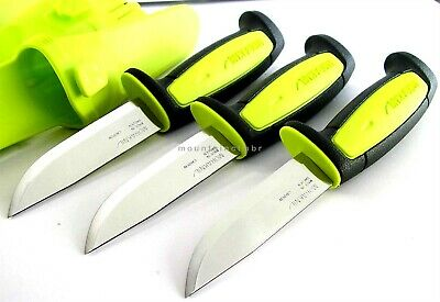 3 Pc Lot Mora Sweden Morakniv Basic 511 Skinner Carbon Steel Knife BLACK LIME