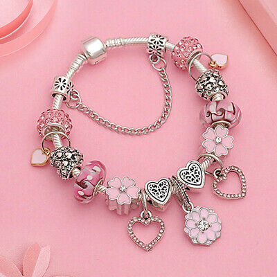 "Authentic PANDORA Bracelet With ""Love Story"" European Charms Pink Silver Bangle"