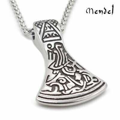 MENDEL Mens Viking Axe Necklace Pendant Chain Stainless Steel Head Totem Amulet