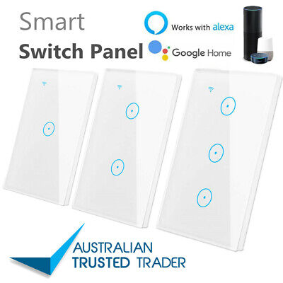 1/2/3 Gang Smart Home WiFi Touch Light Wall Switch Panel For Alexa APP AU STOCK