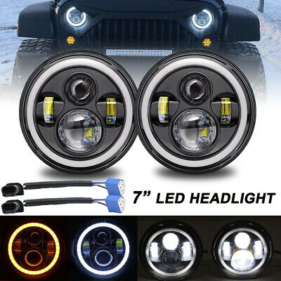 2x 7 Inch Round 200W Total LED Headlights Hi/Lo For 97-18 JEEP JK TJ LJ Wrangler