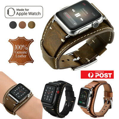 100% Genuine Leather Band Strap for Apple Watch Series 1/2/3/4 38/42 40/44 mm AU