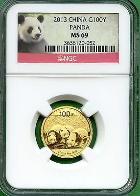 China 2013  Panda  1/4 Oz Gold  Ngc Ms 69    100 Yuan