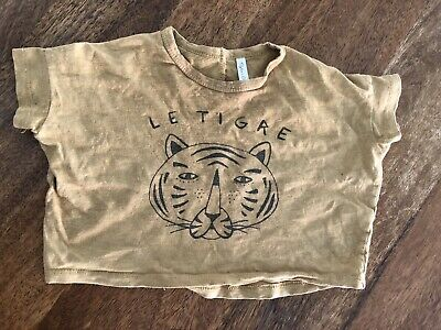 Rylee And Cru Tee Mustard Le Tiger Print Size 3-6 Months