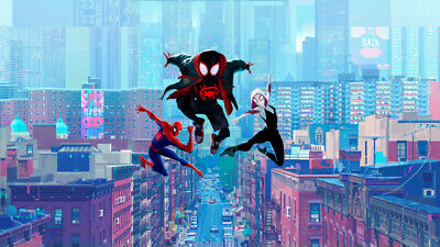 Miles Morales Spider Gwen Spider Man Into Room Art Poster Print 24 X 14 inches