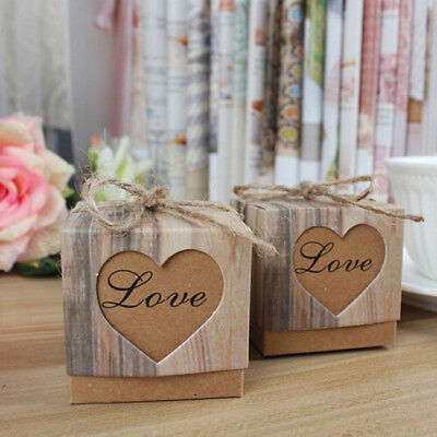 10Pcs Wedding Heart Love Chocolate Cookie Candy Bag Gift Box Party Favor YO