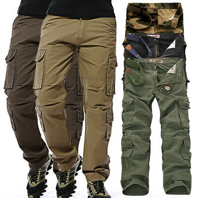 AU Cotton Men's Baggy Military Army Cargo Combat Pants Trousers Casual Outdoor