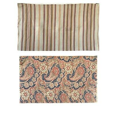 Beautiful 19th C. French Printed Paisley Fabric and 19th C ticking Stripe (2599)
