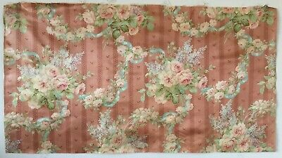 Beautiful Late 19th or Early 20th C. French Printed Floral Silk FAbric  (2600)
