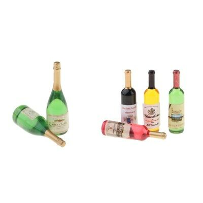 6 Pieces Wine Drink Bottles for 1:12 Dollhouse Kitchen Dining Room Supplies