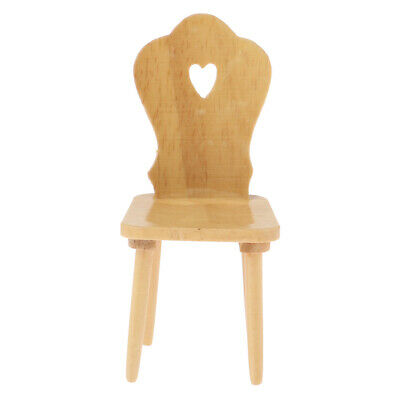 Mini Furniture Chair Miniatures for 1/12 Scale Dollhouse Decor Wood Color