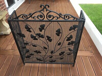 Antique Vintage Black Cast Iron French Country Cottage Garden Fireplace Screen