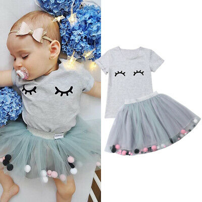 a423154b3d1 UK Stock Toddler Kids Baby Girls Clothes Tops+Tutu Skirt Dress 2pcs Outfits  Set