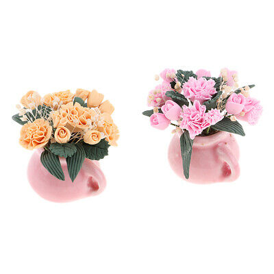 2pcs 1/12 Dollhouse Miniature DIY Accs Clay Plant Potted Carnation Flower