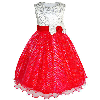 Girls Dress Glitter Sequin Wedding Bridesmaid Pageant Age 4-14 Years Formal